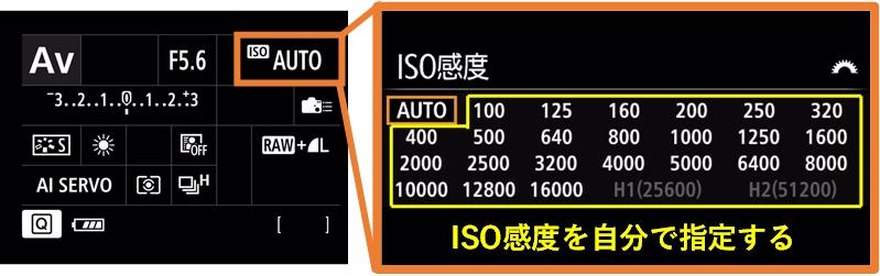 ISO感度オートから自分で設定するイメージ画像