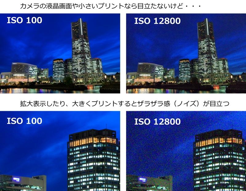 プリントしたり拡大表示するとISO感度のノイズが目立つ例