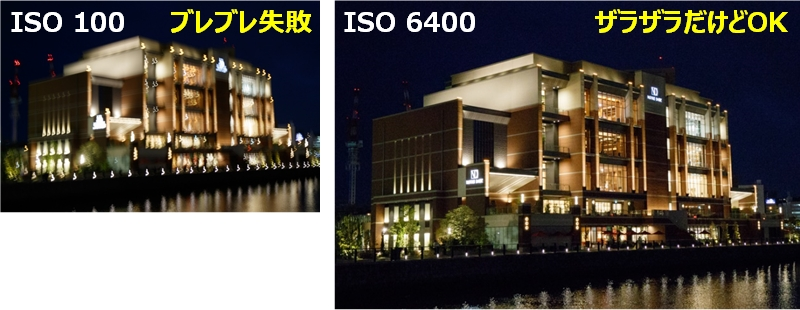 ISO感度を上げてザラザラした写真とISO感度を上げずにぶれた写真の比較
