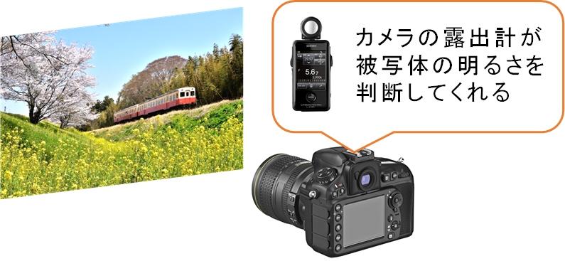 露出計とカメラ内蔵の露出計のイメージ