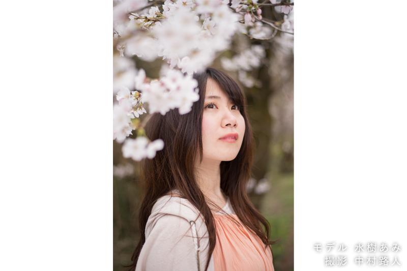 桜ポートレート作例 桜を前ボケに使う1