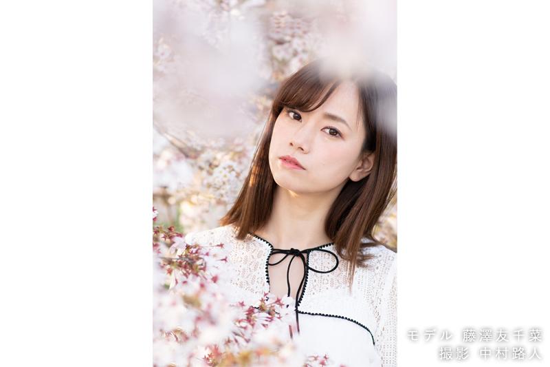 桜ポートレート作例 桜を前ボケに使う2