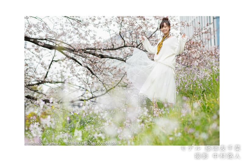 桜ポートレート作例 ローアングルで撮る1