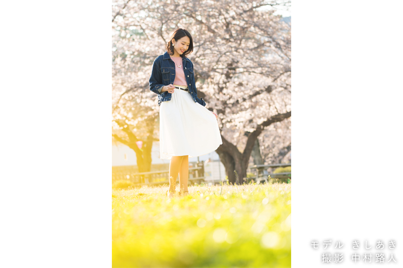 桜ポートレート作例 ローアングルで撮る2