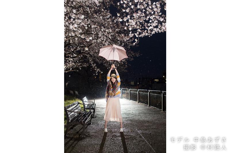 桜ポートレート作例 リムライト雨