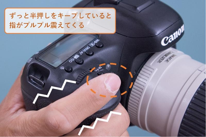 シャッターボタン半押しキープで指がプルプル震えるイラスト