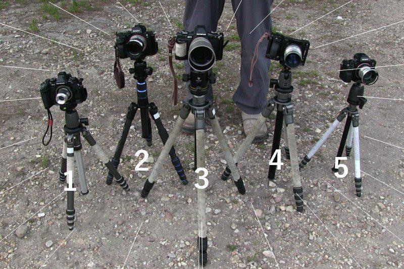 複数の三脚を使って複数の一眼レフを並べた写真