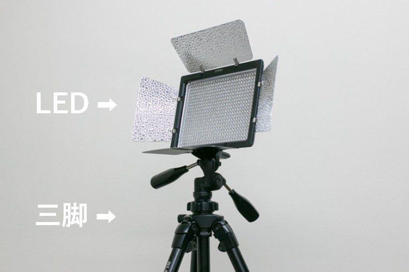 LEDと三脚を取り付けた例