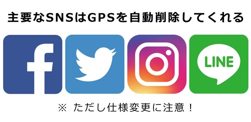 主要なSNSはGPS(位置情報)を自動的に削除