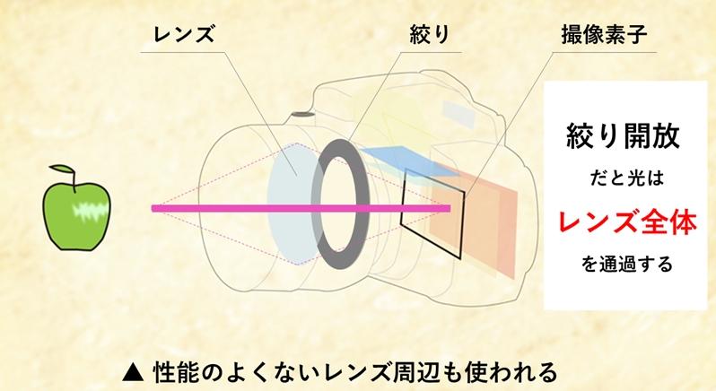 カメラ断面図 f値(絞り値)を開けるとレンズの周辺まで使う