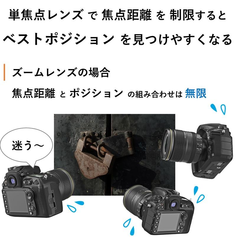 単焦点レンズで焦点距離を制限するとベストポジションを見つけやすくなる