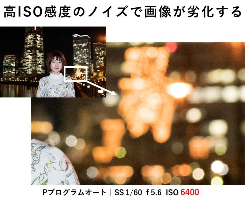 ISO感度6400の写真を拡大するとノイズが目立つ