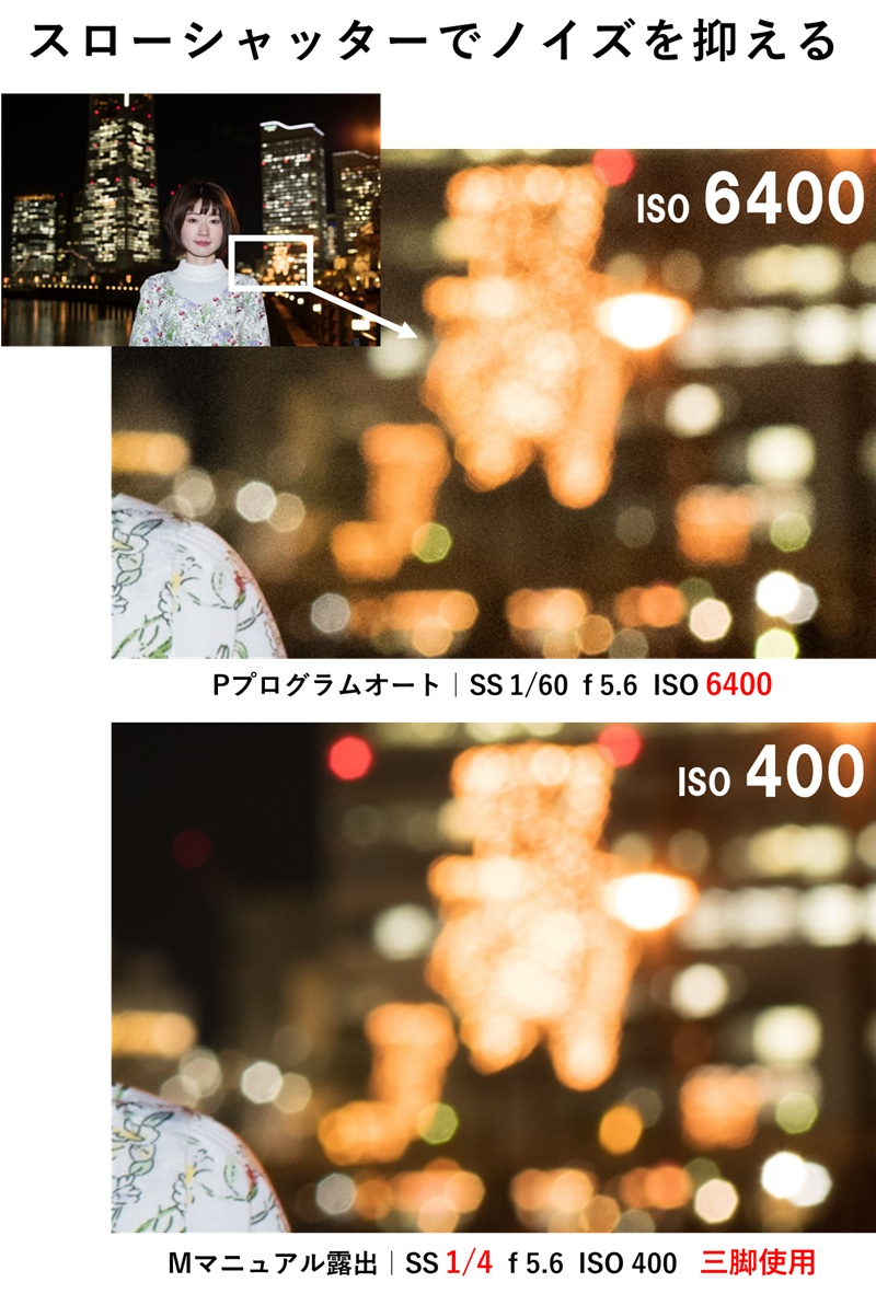 ISO400と6400とのノイズ比較 拡大画像