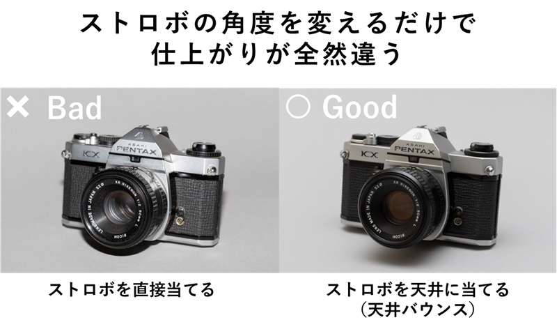クリップオンストロボを直接当てた写真と上に向けた写真の比較