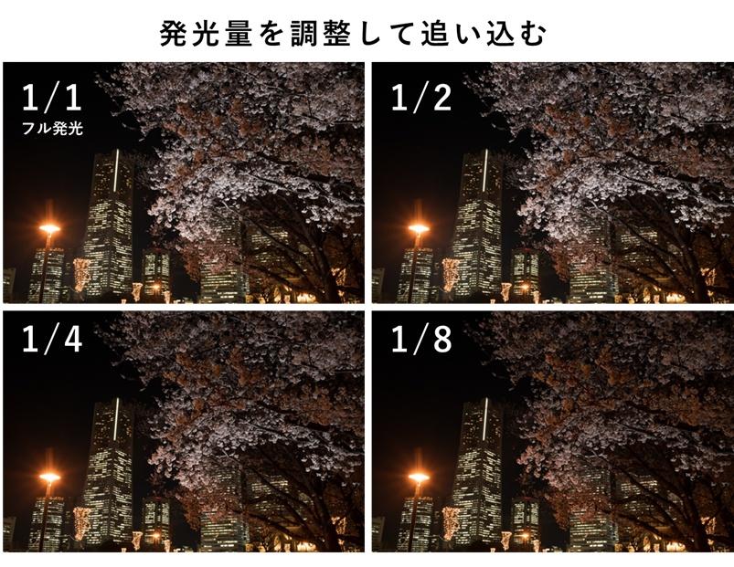 発光量を変えて撮り比べた写真