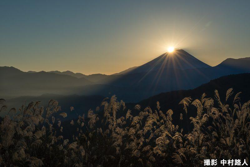 三脚を使ってダイヤモンド富士を撮った写真