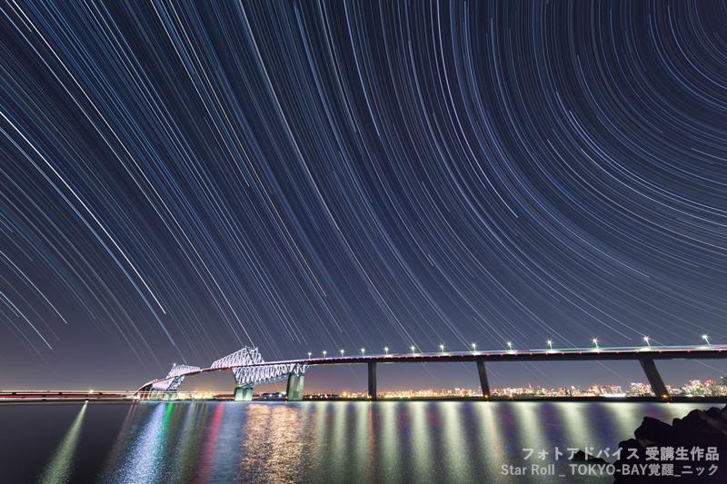 20mmくらいの広角で星の軌跡を撮った作品